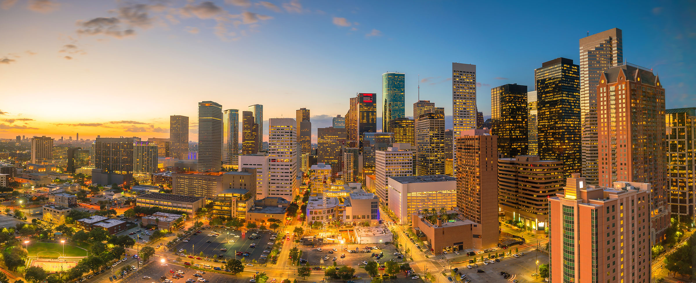 an evening view of the City of Houston, Texas downtown